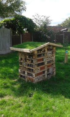 Our bug hotel to help enrich the ecosystem in the orchard